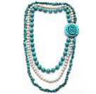 Wholesale Multi Strands White Freshwater Pearl and Turquiose Necklace with Turquoise Flower Clasp