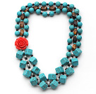 Wholesale Multi Strands Square Shape Turquoise and Garnet and Tiger Eye and White Pearl Necklace