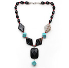 Assorted Black Agate and Alaqueca and Turquoise Y Shape Necklace