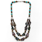 Wholesale Double Layer Turquoise and Tiger Eye and Irregular Shape Indian Agate Necklace