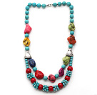 Double Layer Turquoise and Alaqueca and Irregular Shape Dyed Turquoise Necklace
