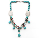 Assorted Turquoise and White Freshwater Pearl and Red Coral Necklace