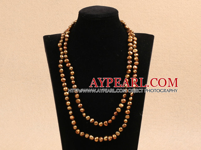 Chic Long Style Natural Potato Shape Brown Pearl Necklace Best Gift