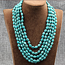 Elegant Style Multi Strands Oval Shape Turquoise Knotted Necklace