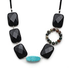 Wholesale Fashion Style Rectangle Shape Black Crystal and Turquoise and Wire Wrapped Indian Agate Necklace
