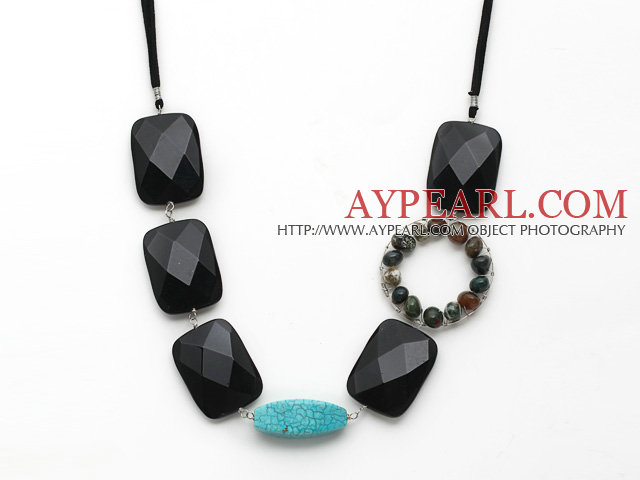 Fashion Style Rectangle Shape Black Crystal and Turquoise and Wire Wrapped Indian Agate Necklace
