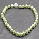 Fashion Single Strand 12Mm Green Round Seashell Beads Necklace With Rhinestone Magnetic Clasp
