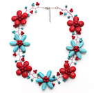 New Design Turquoise and Alaqueca and Red Coral Flower Wire Crocheted Necklace with Extendable Chain
