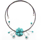 Wholesale Turquoise Flower Choker Necklace with White Pearl and White Crystal and Gray Black Glass Beaded Chain