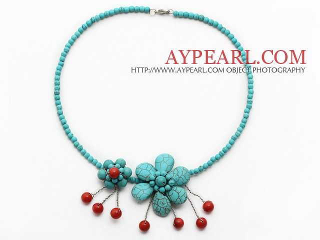 Elegant Style Turquoise and Red Coral Flower Necklace with Metal Clasp