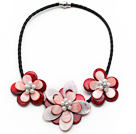 White Freshwater Pearl and Red Shell Flower Leather Necklace with Black Leather and Magnetic Clasp