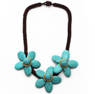 Wholesale Elegant Style Turquoise Flower Necklace with Brown Color Bold Thread