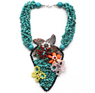 Wholesale Amazing Style Turquoise Chips Necklace with Cats Eye and Rose Quartz and Carnelian Butterfly and Shell Flower