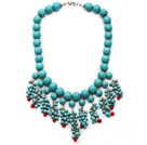 Wholesale Assorted Turquoise and Red Coral Tassel Bib Necklace with Metal Clasp