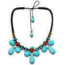 Wholesale Turquoise and Alaqueca and Yellow Color Metal Beads Necklace with Black Thread