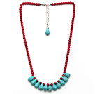 Wholesale Assorted Red Coral and Teardrop Turquoise Necklace with Extendable Chain