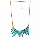 Wholesale Fashion Style Turquoise Tassel Necklace with Golden Color Metal Chain