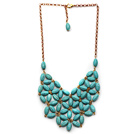 Fashion Style Turquoise Flower Bib Statement Necklace with Golden Color Metal Chain