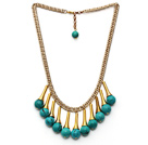 Wholesale Fashion Style Turquoise Tassel Necklace with Golden Color Metal Chain and Extendable Chain