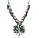 Wholesale Assorted Red Coral and Clear Crystal and Turquoise Necklace with Life Tree Pendant and Metal Chain