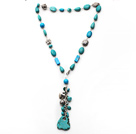 Wholesale Assorted Turquoise Y Shape Necklace with Irregular Shape Turquoise Pendant and Metal Chain