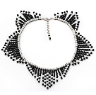 Fashion Style Black Agate and Howlite Star Shape Necklace with Extendable Chain