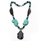 Wholesale Assorted Turquoise and Tiger Eye and Irregular Shape Black Agate Necklace with Agate Pendant