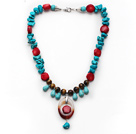Assorted Turquoise and Tiger Eye and Red Coral and Agate Necklace