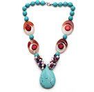 Assorted Turquoise and Red Coral and Agate and White Pearl and Amethyst Necklace with Teardrop Shape Turquoise Pendant