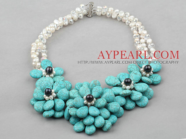 Big Style White Freshwater Pearl and Big Turquoise Flower Party Necklace