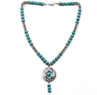 Wholesale Turquoise and Metal Spacer Beads Y Shape Necklace with Blue and White Jade Donut