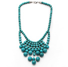 Fashion Style Assorted Turquoise Graduated Bib Necklace with Metal Clasp