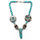 Wholesale Assorted Turquoise and Tiger Eye Necklace with Long Teeth Shape Turquoise Pendant