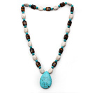 Assorted Howlite and Blue Turquoise and Tiger Eye Necklace with Teardrop Shape Turquoise Pendant