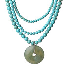 Multi Strands Turquoise Necklace with Serpentine Jade Rose Flower Pendant and Extendable Chain
