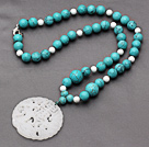 White Porcelain Stone and Turquoise Knotted Necklace with China Style White Jade Pendant