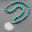 Turquoise and White Porcelain Stone Knotted Necklace with China Style White Jade Pendant