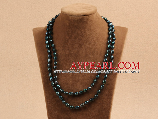 Chic Long Style Natural Dark Green Pearl Necklace Best Gift
