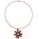 Green Agate and Carnelian Christmas Snowflake Shape Pendant Necklace with Red Wire and Magnetic Clasp