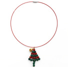 2013 Christmas Design Green Agate and Carnelian Christmas Tree Shape Pendant Necklace with Red Wire and Magnetic Clasp