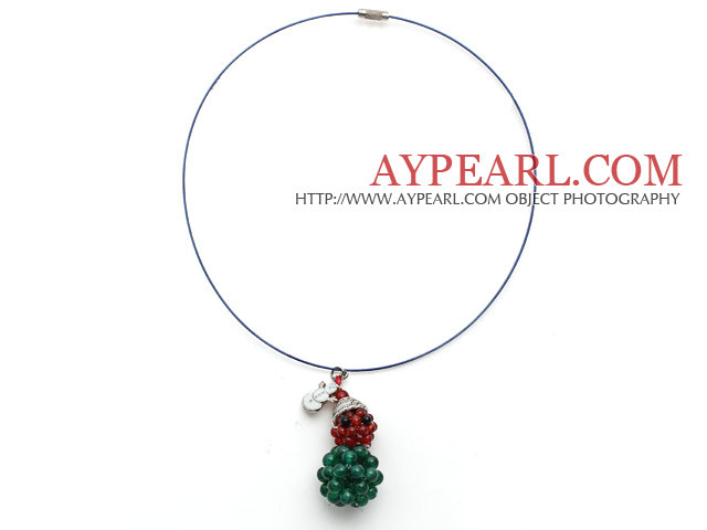2013 Christmas Design Green Agate and Carnelian Christmas Snowman Shape Pendant Necklace with Blue Wire and Magnetic Clasp