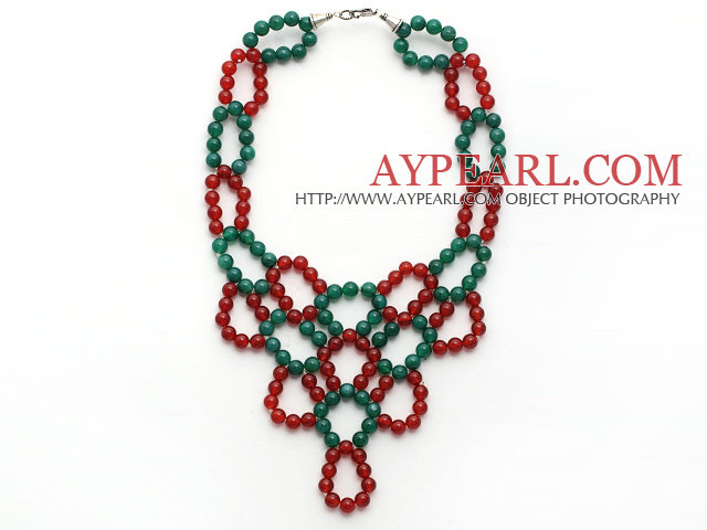 2013 Christmas Design Green Agate and Carnelian Link Statement Necklace