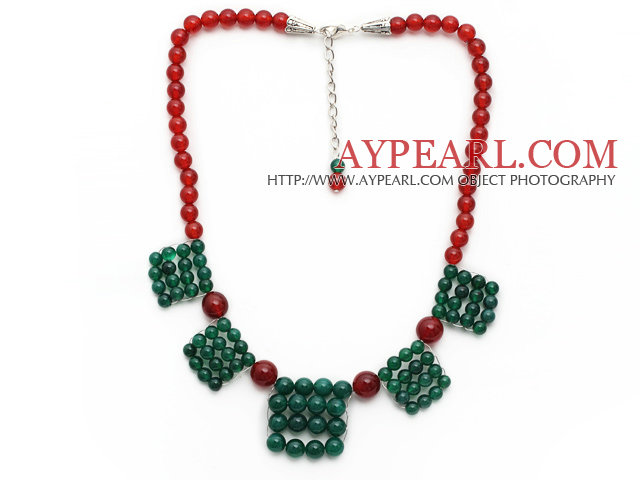2013 Christmas Design Green Agate and Carnelian Necklace with Extendable Chain