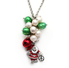 2014 Christmas Design White Freshwater Pearl and Green Pearl and Red Bell and Santa Claus Pendant Necklace with Metal Chain