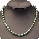 Single Strand Elegant 7-8mm Natural Dark Green Freshwater Pearl Party / Wedding Necklace