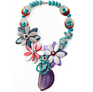 Assorted Turquoise and Agate and Shell Flower Necklace with Crystallized Agate Pendant