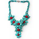 Assorted Green Turquoise and Red Coral Flower Party Necklace