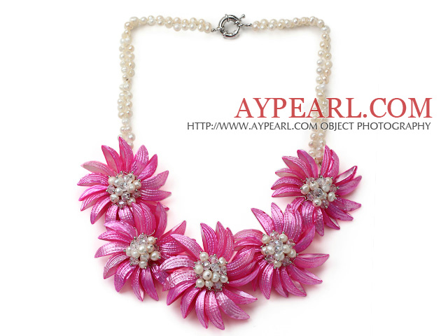 White Freshwater Pearl and Clear Crystal and Hot Pink Shell Flower Necklace
