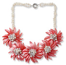 White Freshwater Pearl and Clear Crystal and Red Shell Flower Necklace