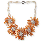 White Freshwater Pearl and Clear Crystal and Orange Yellow Color Shell Flower Necklace